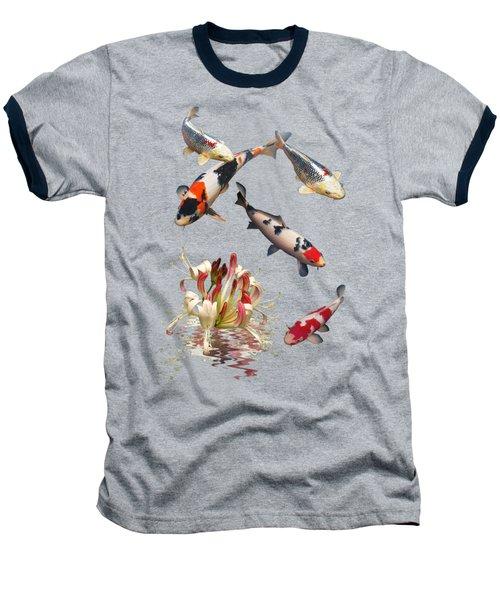 Koi With Honeysuckle Reflections Vertical Baseball T-Shirt by Gill Billington