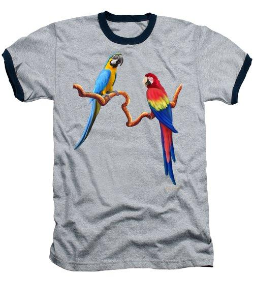 Macaw Tropical Parrots Baseball T-Shirt by Glenn Holbrook
