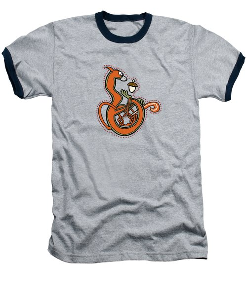 Medieval Squirrel Blue Letter B Baseball T-Shirt by Donna Huntriss
