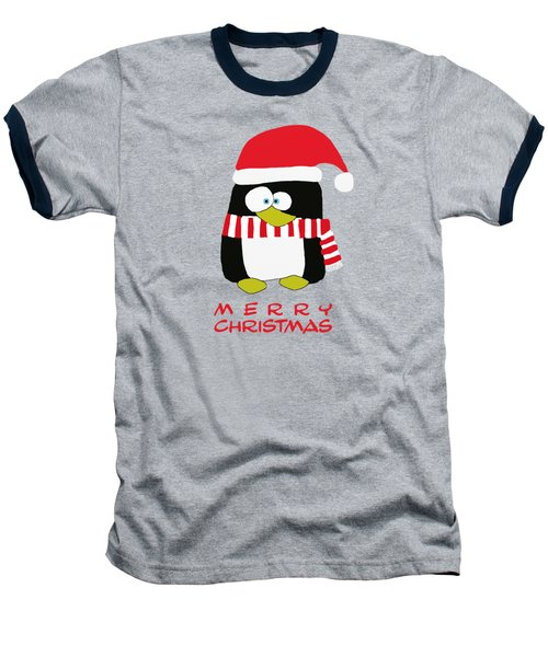 Merry Christmas Penguin Baseball T-Shirt by Priscilla Wolfe