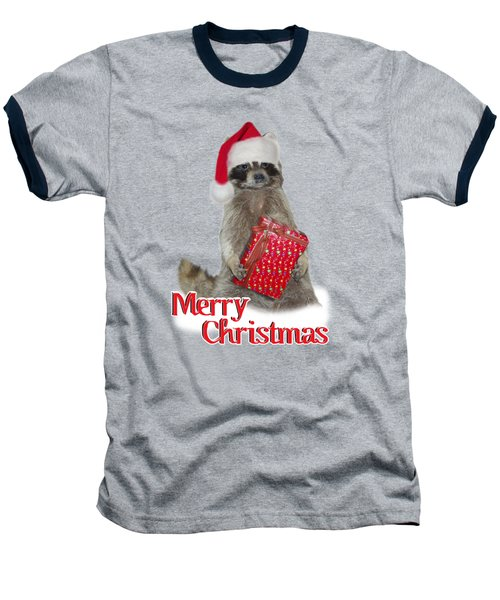 Merry Christmas -  Raccoon Baseball T-Shirt by Gravityx9 Designs