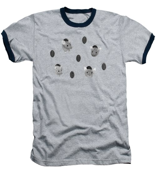 Mice In Swiss Cheese Baseball T-Shirt by Rita Palmer