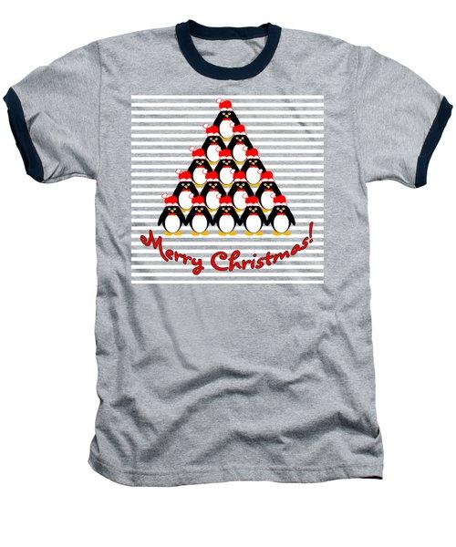 Penguin Christmas Tree N Stripes Baseball T-Shirt by Methune Hively