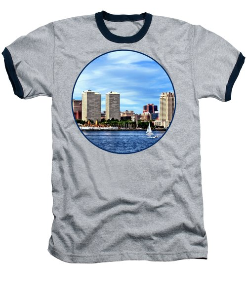 Philadelphia Pa Skyline Baseball T-Shirt by Susan Savad
