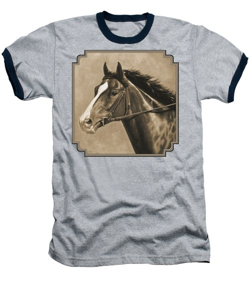 Racehorse Painting In Sepia Baseball T-Shirt by Crista Forest