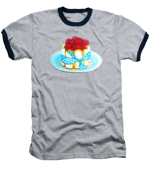 Raspberry Finger Biscuit Dessert Illustration Baseball T-Shirt by Sonja Taljaard