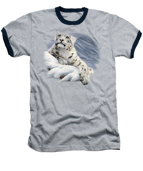 Snow Leopard Baseball T-Shirt by Lucie Bilodeau