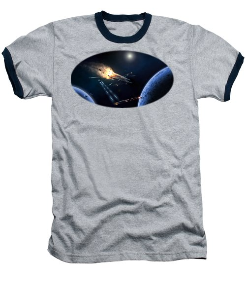 Space Battle I Baseball T-Shirt by Carlos M R Alves