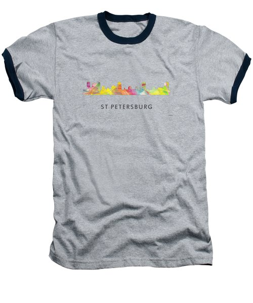 St Petersburg Florida Skyline Baseball T-Shirt by Marlene Watson