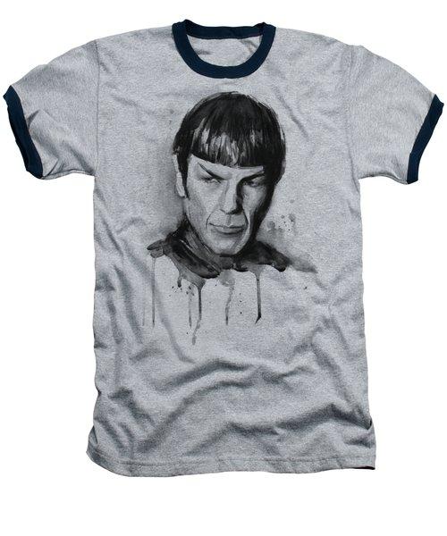 Star Trek Spock Portrait Sci-fi Art Baseball T-Shirt by Olga Shvartsur
