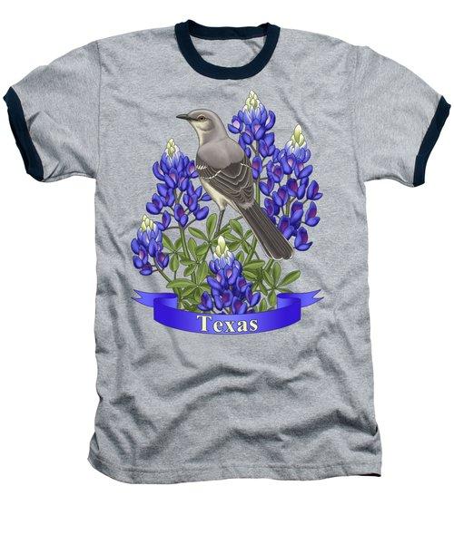 Texas State Mockingbird And Bluebonnet Flower Baseball T-Shirt by Crista Forest
