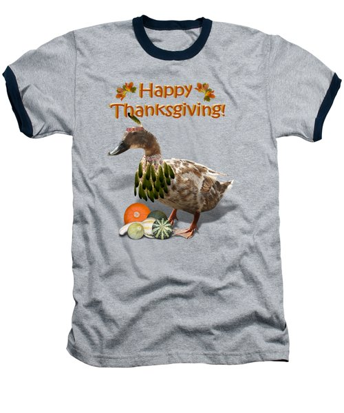 Thanksgiving Indian Duck Baseball T-Shirt by Gravityx9 Designs