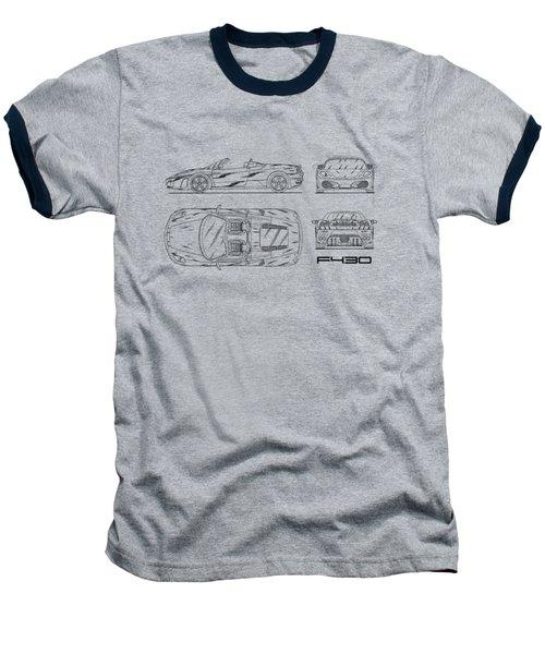 The F430 Blueprint - White Baseball T-Shirt by Mark Rogan