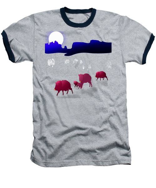 They Walk By Night Baseball T-Shirt by Methune Hively