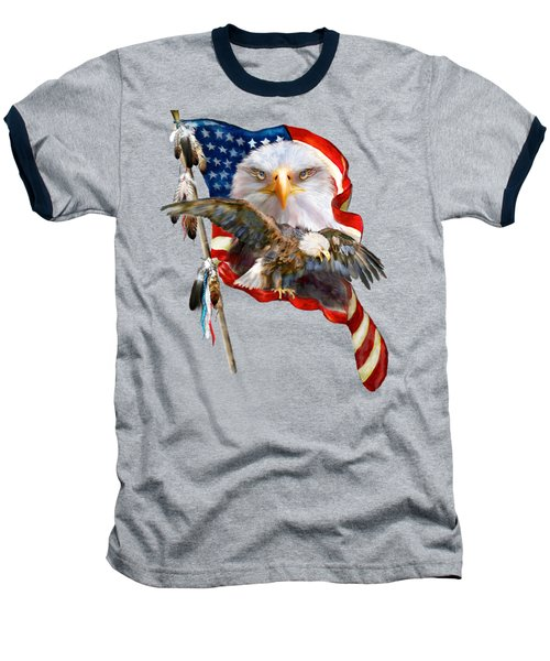 Vision Of Freedom Baseball T-Shirt by Carol Cavalaris