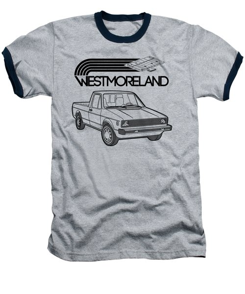Vw Rabbit Pickup - Westmoreland Theme - Black Baseball T-Shirt by Ed Jackson