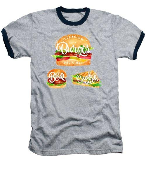White Burger Baseball T-Shirt by Aloke Design