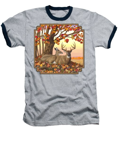 Whitetail Deer - Hilltop Retreat Baseball T-Shirt by Crista Forest