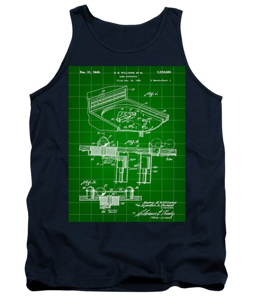 Pinball Machine Patent 1939 - Green Tank Top by Stephen Younts