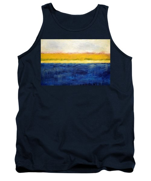 Abstract Dunes With Blue And Gold Tank Top by Michelle Calkins