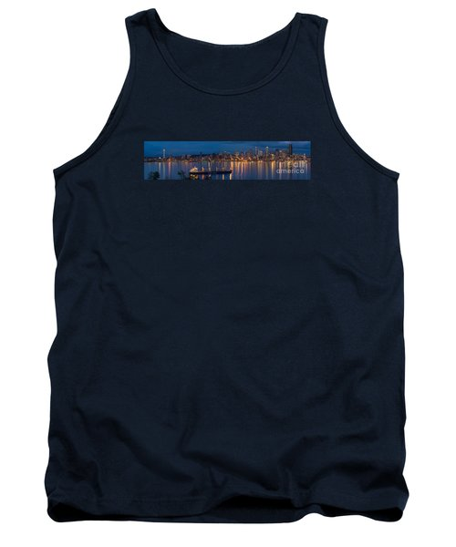 Elliott Bay Seattle Skyline Night Reflections  Tank Top by Mike Reid
