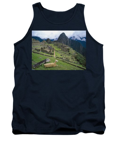 Llama At Machu Picchus Ancient Ruins Tank Top by Chris Caldicott