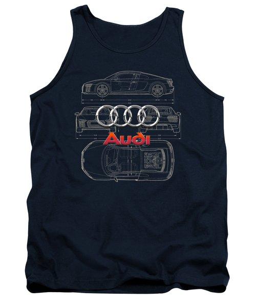 Audi 3 D Badge Over 2016 Audi R 8 Blueprint Tank Top by Serge Averbukh