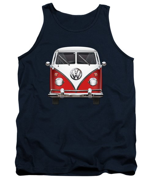 Volkswagen Type 2 - Red And White Volkswagen T 1 Samba Bus Over Green Canvas  Tank Top by Serge Averbukh
