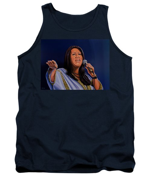 Aretha Franklin Painting Tank Top by Paul Meijering