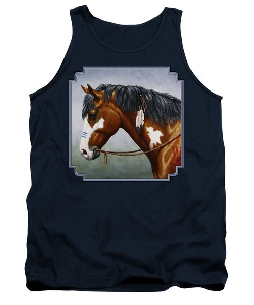 Bay Native American War Horse Tank Top by Crista Forest