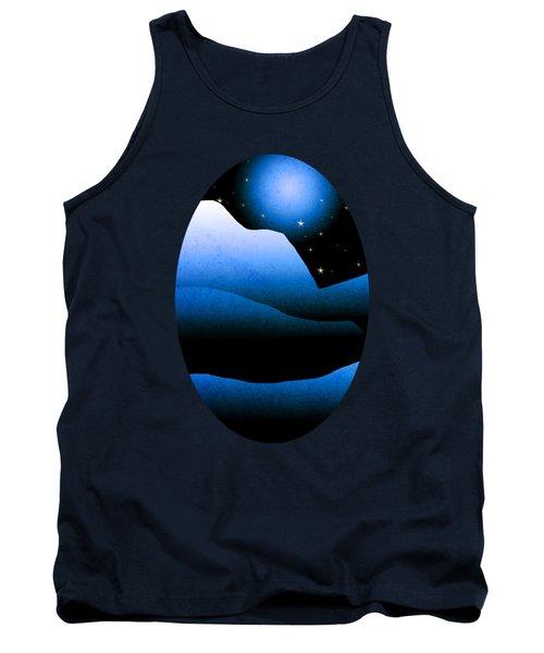 Blue Moon Mountain Landscape Art Tank Top by Christina Rollo