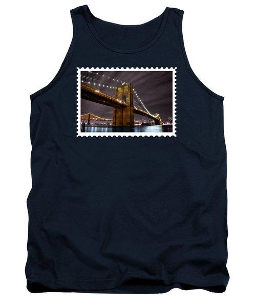 Brooklyn Bridge At Night New York City Tank Top by Elaine Plesser