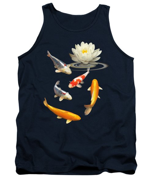 Colorful Koi With Water Lily Tank Top by Gill Billington