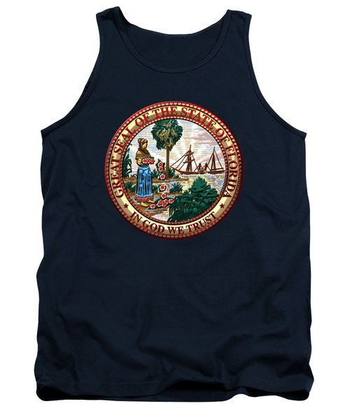 Florida State Seal Over Blue Velvet Tank Top by Serge Averbukh