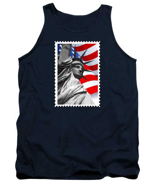Graphic Statue Of Liberty With American Flag Tank Top by Elaine Plesser