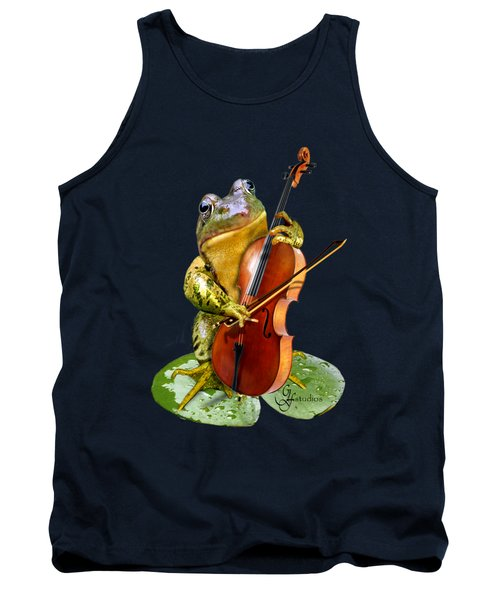 Humorous Scene Frog Playing Cello In Lily Pond Tank Top by Regina Femrite