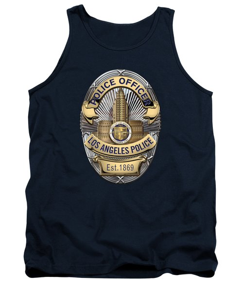 Los Angeles Police Department  -  L A P D  Police Officer Badge Over Blue Velvet Tank Top by Serge Averbukh