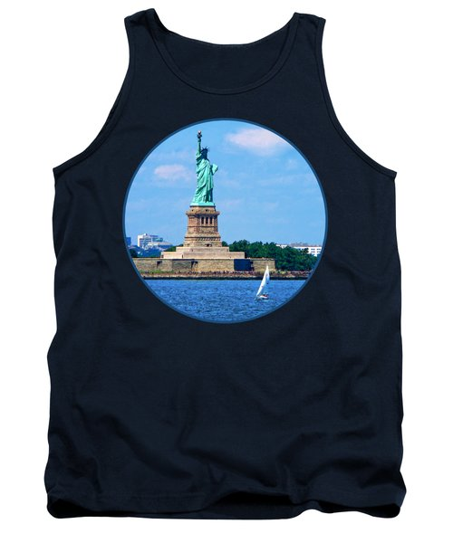 Manhattan - Sailboat By Statue Of Liberty Tank Top by Susan Savad