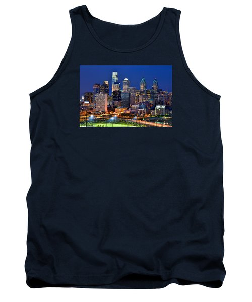 Philadelphia Skyline At Night Tank Top by Jon Holiday