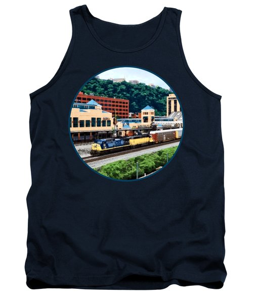 Pittsburgh Pa - Freight Train Going By Station Square Tank Top by Susan Savad