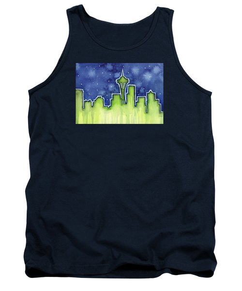 Seattle Night Sky Watercolor Tank Top by Olga Shvartsur