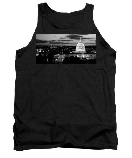 High Angle View Of A City Lit Tank Top by Panoramic Images