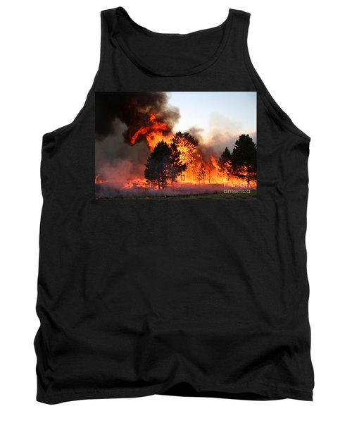 Tank Top featuring the photograph A Burst Of Flames From The White Draw Fire by Bill Gabbert