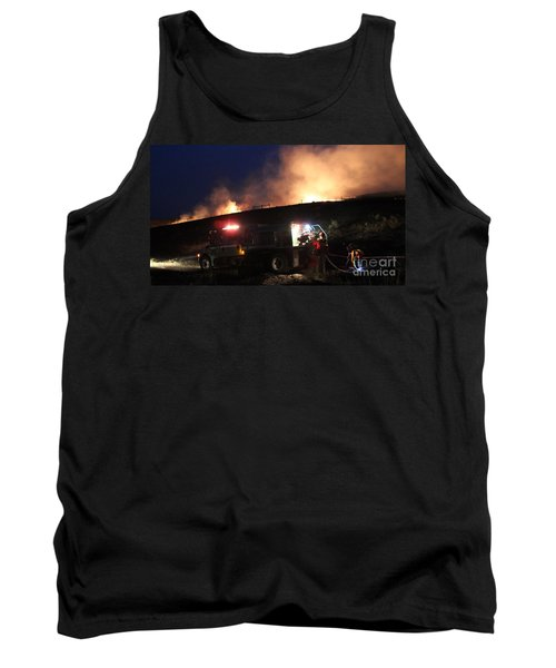 Tank Top featuring the photograph An Engine Crew Works At Night On White Draw Fire by Bill Gabbert