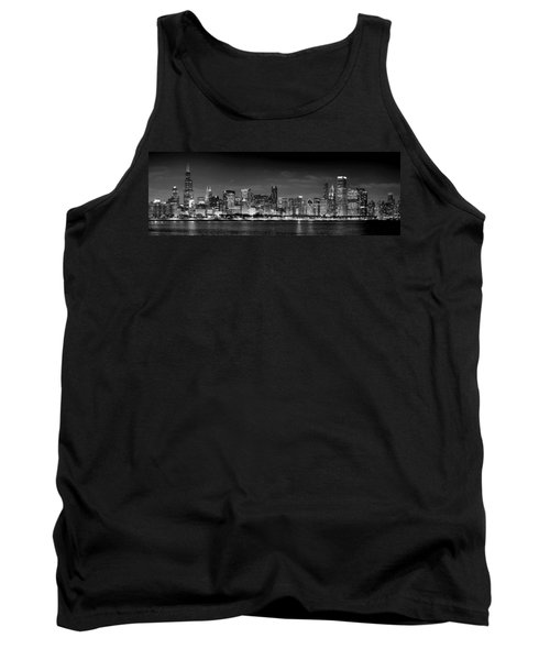 Chicago Skyline At Night Black And White Tank Top by Jon Holiday