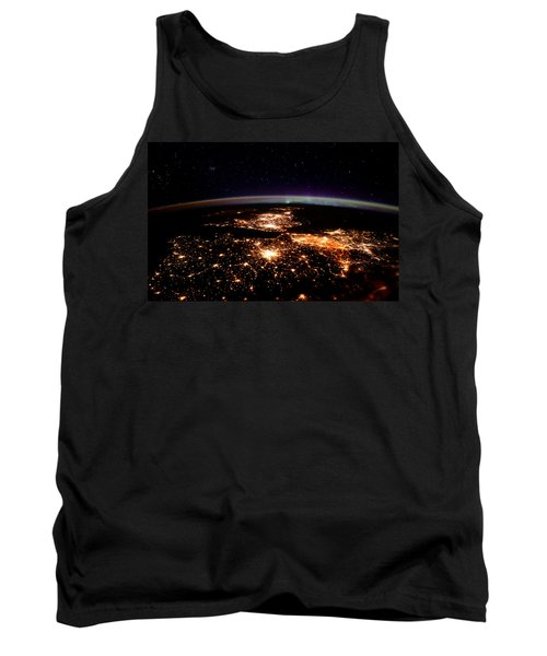 Tank Top featuring the photograph Europe At Night, Satellite View by Science Source