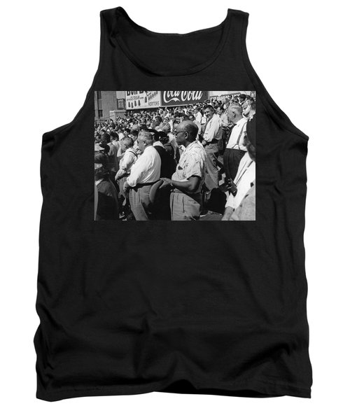 Fans At Yankee Stadium Stand For The National Anthem At The Star Tank Top by Underwood Archives