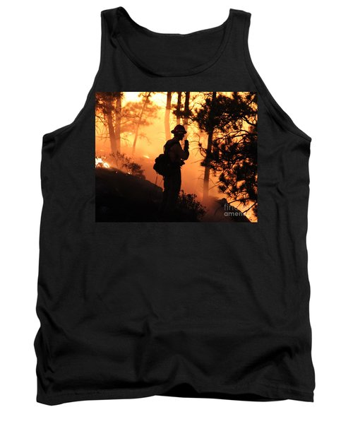 Tank Top featuring the photograph Firefighter At Night On The White Draw Fire by Bill Gabbert