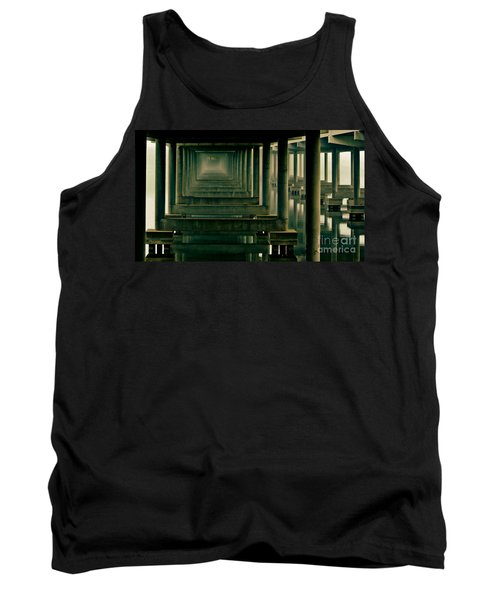 Foggy Morning Under Bridge Tank Top by Robert Frederick