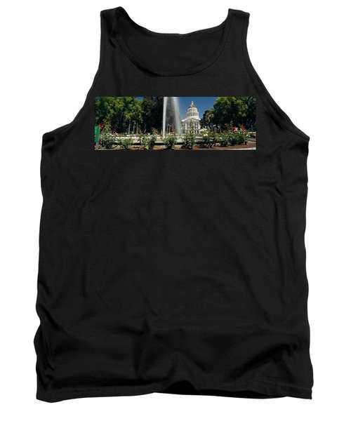 Fountain In A Garden In Front Tank Top by Panoramic Images